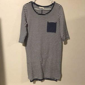 Hinge Striped Dress 3/4 sleeve Size Small